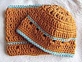 Crocheted Sweet Potato Baby Beanie and Hat