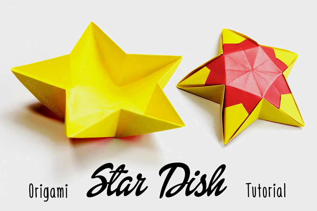 Yellow origami star dish with colorful covering.