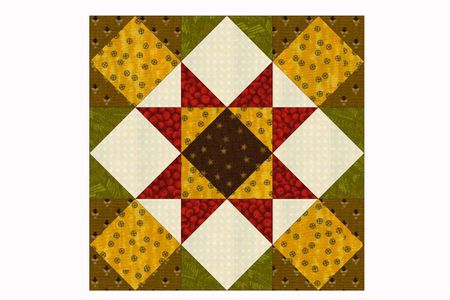 Kansas Star Quilt Block Pattern In Two Sizes