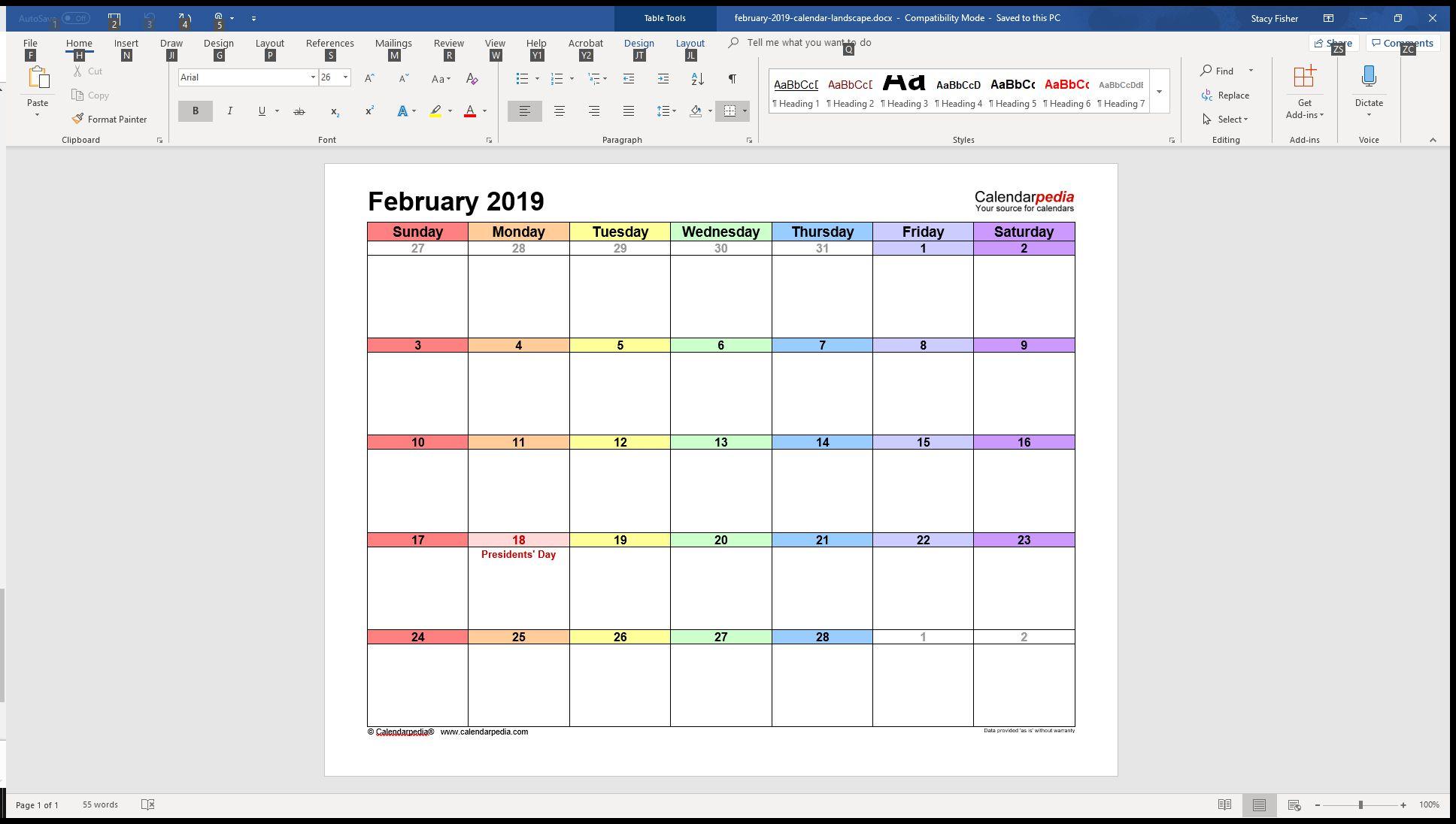 word weekly calendar template
