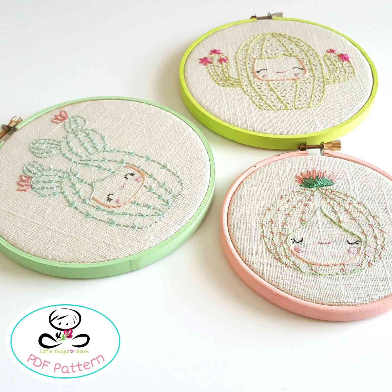 Cactus Faces Embroidery Pattern