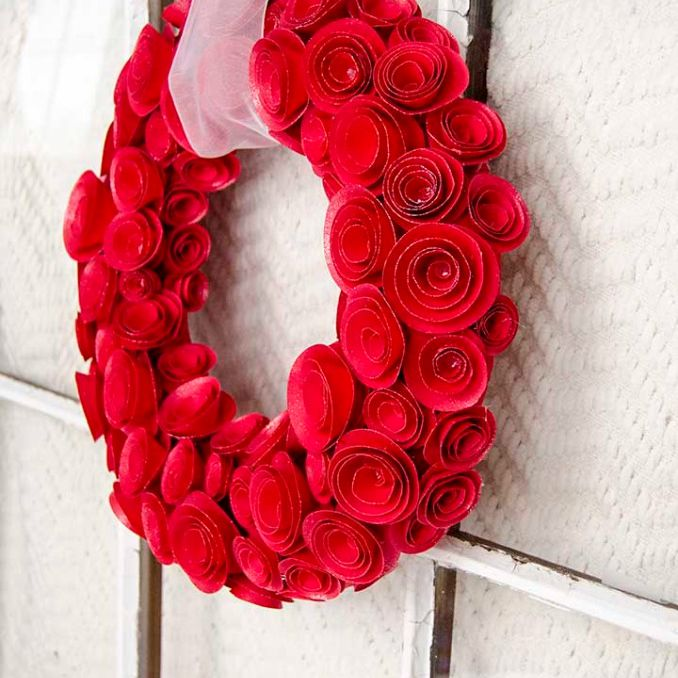 red rose paper wreath