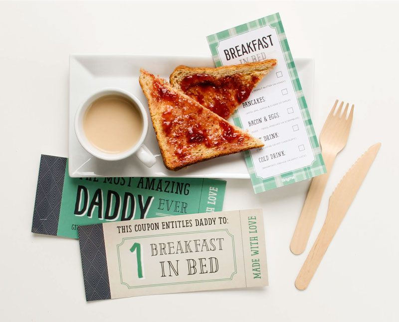 Father's Day coupons, coffee, and toast with jam.