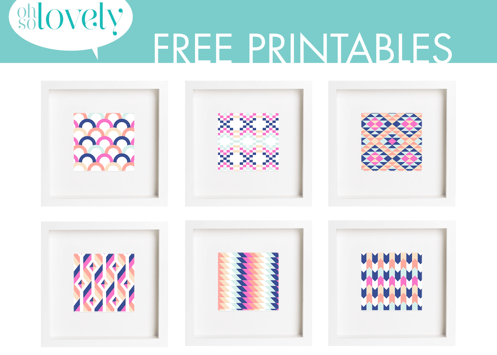 a group of six colorful printable art pieces