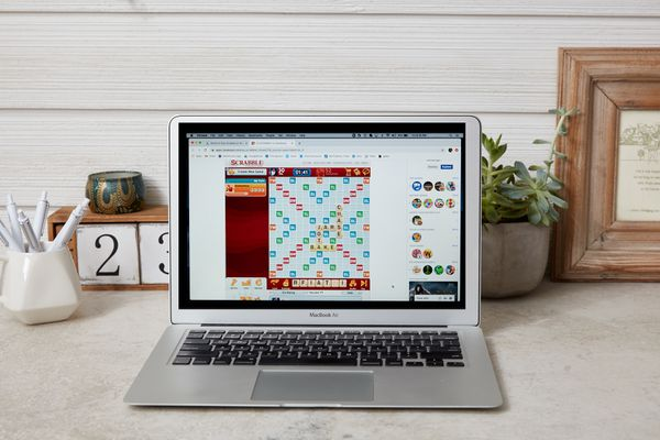 words with friends on a laptop