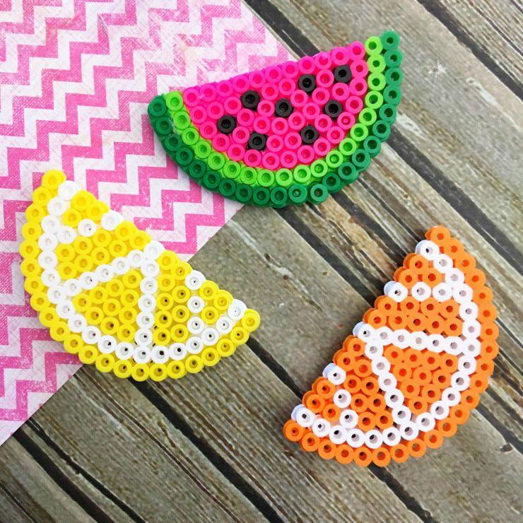 Perler Bead Fruit Magnets