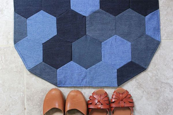 A denim rug with shoes