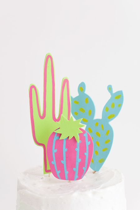 DIY Colorful Cacti Cake Topper