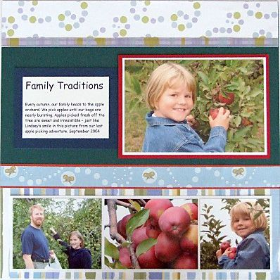 photos and caption organized on scrapbook page
