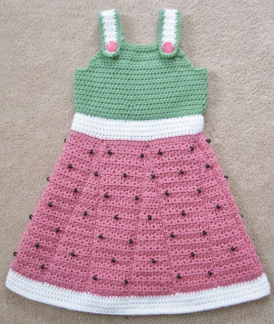 Little watermelon crochet dress