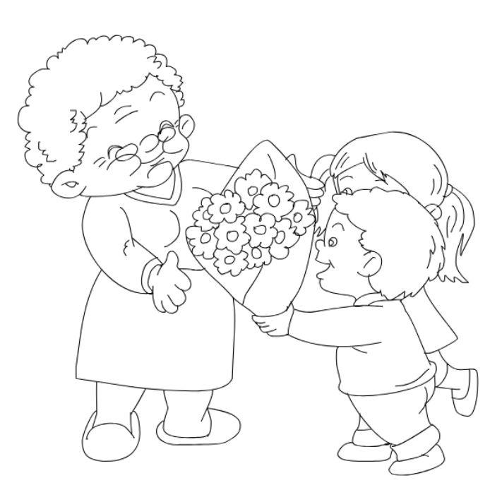 Grandchildren giving grandma flowers