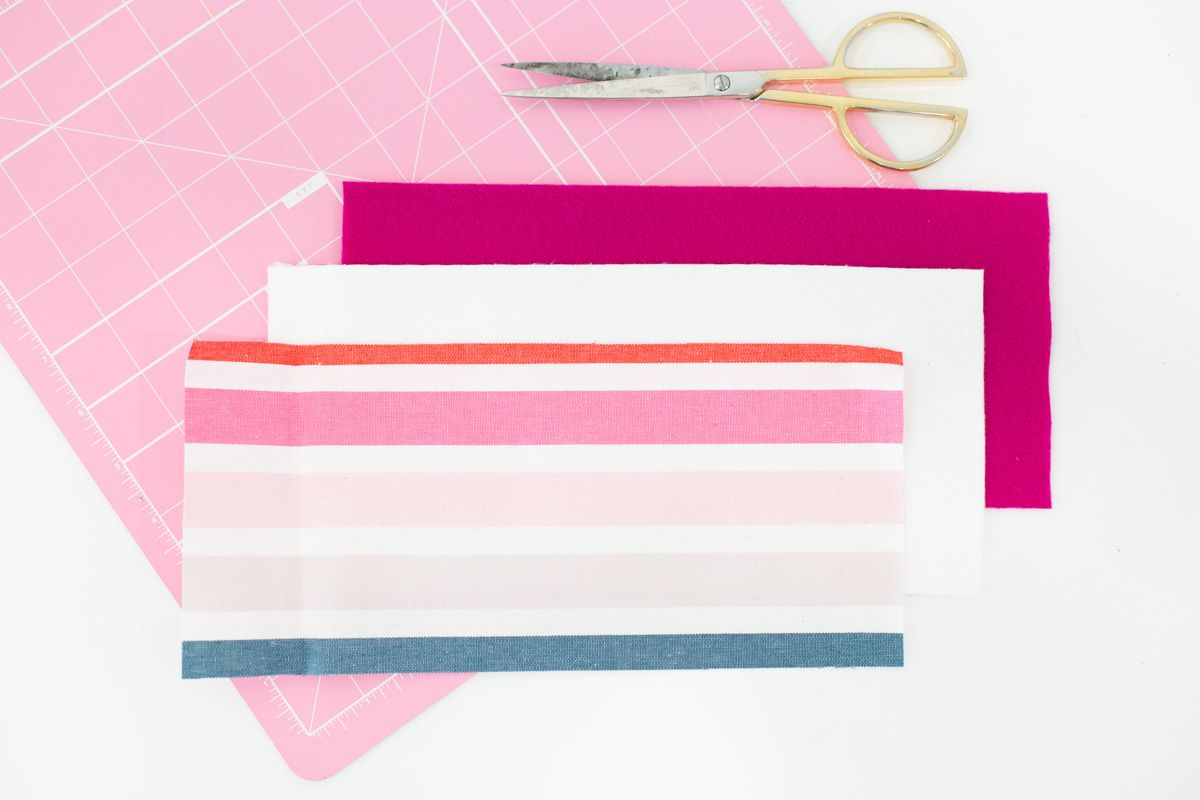 Cut fabric for creating DIY koozies