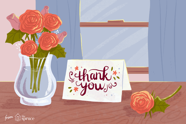 Illustration of thank you card on table