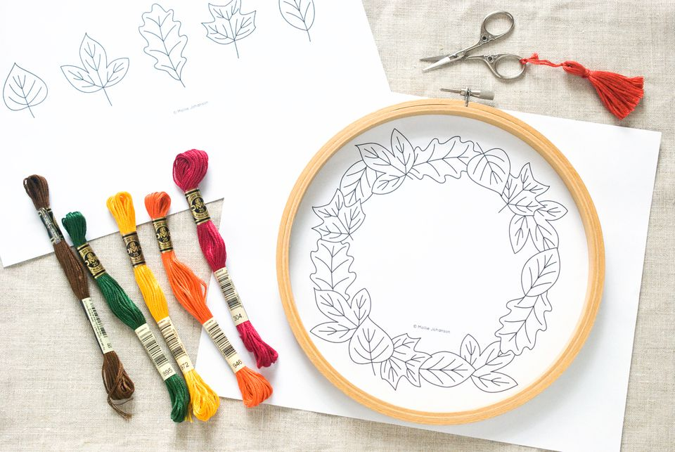 Leaf Border Embroidery Pattern