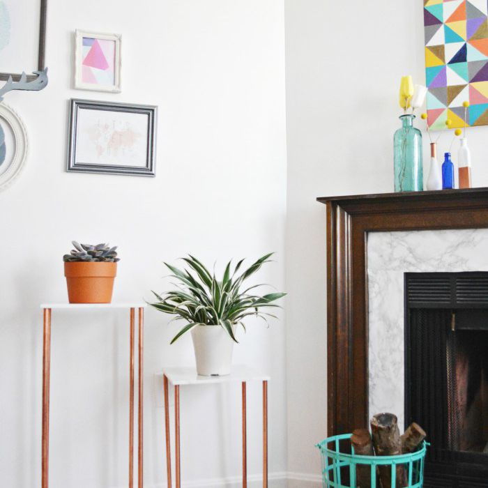 DIY Marble and Copper Plant Stand