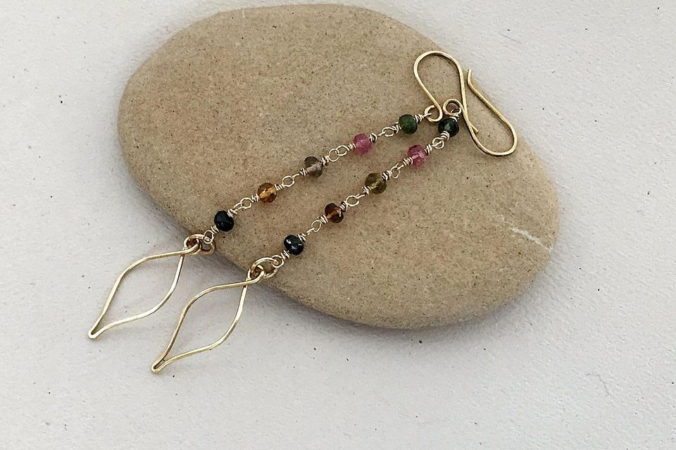 DIY Gemstone and Wire Leaves Earrings