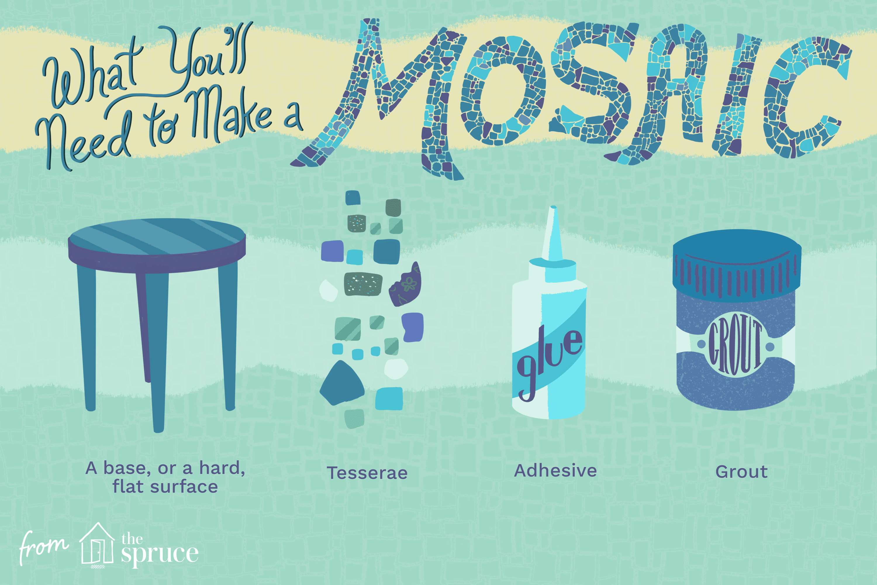 Illustration on how to make a mosaic