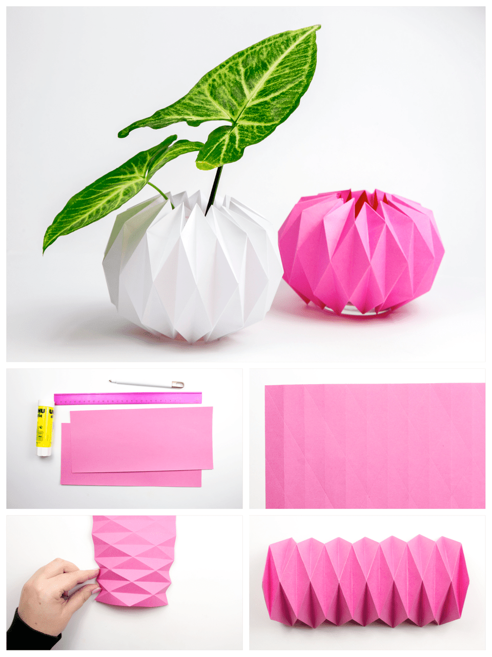 An image collage of an origami pot cover