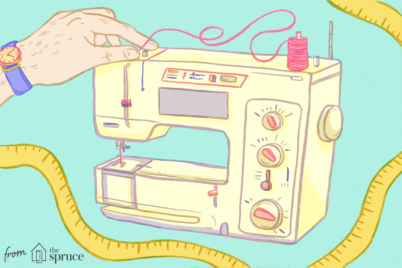 Illustration of hand threading sewing machine