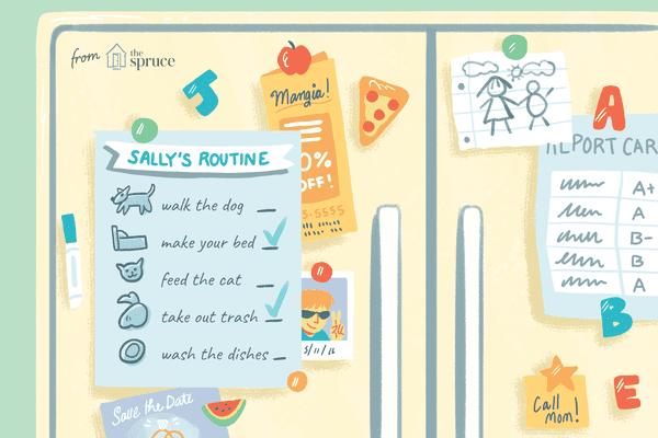 Illustration of a chore chart on a fridge