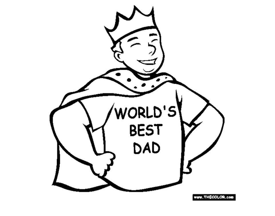 """A dad wearing a cape, crown, and a shirt that says """"World's Best Dad"""""""