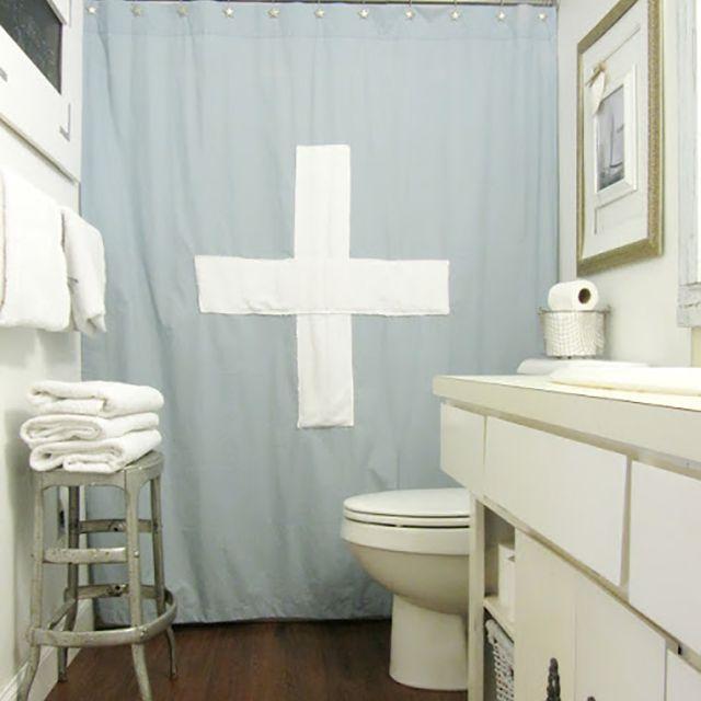 DIY light blue Swiss cross shower curtain
