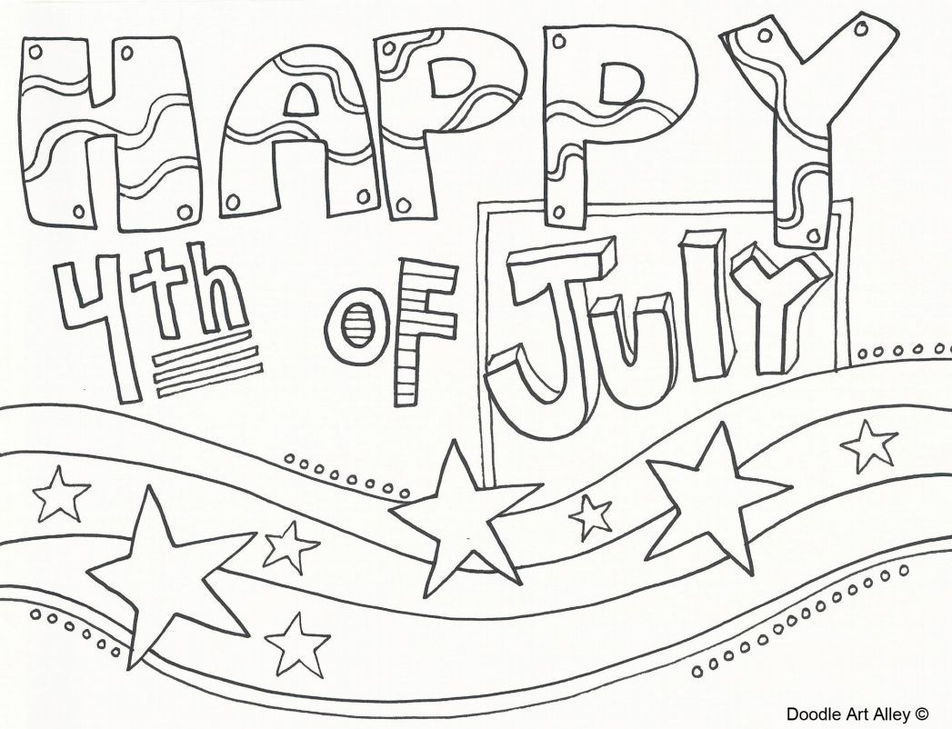 "A coloring page that says ""Happy 4th of July"""