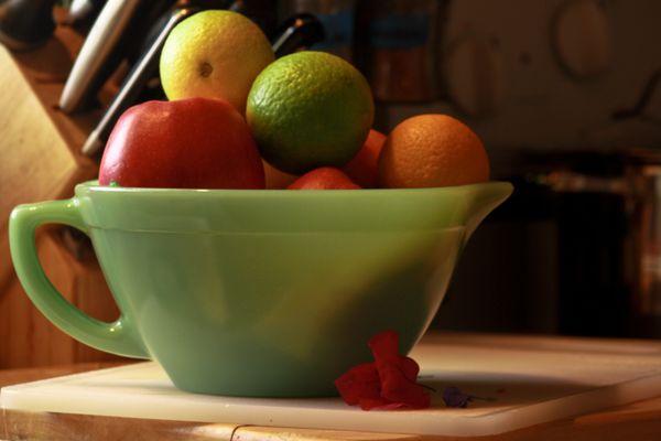 Fruit in Fire King bowl