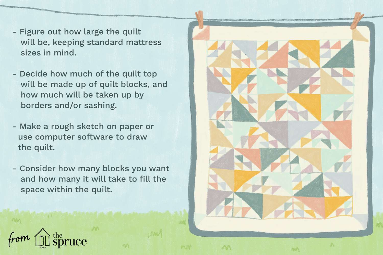 Illustration of a quilt hanging on a clothesline