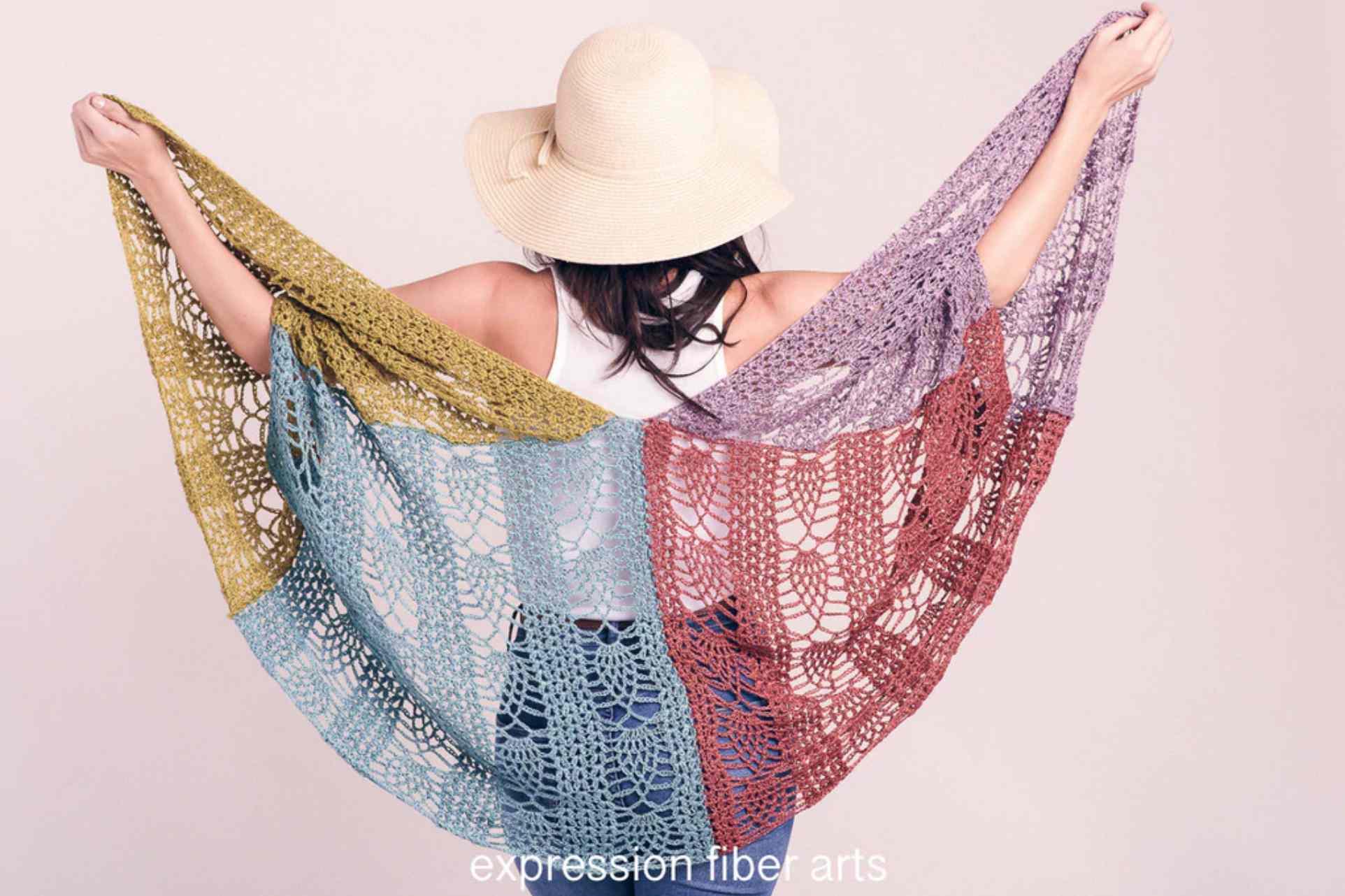 Pineapple Sunset Crochet Shawl Pattern