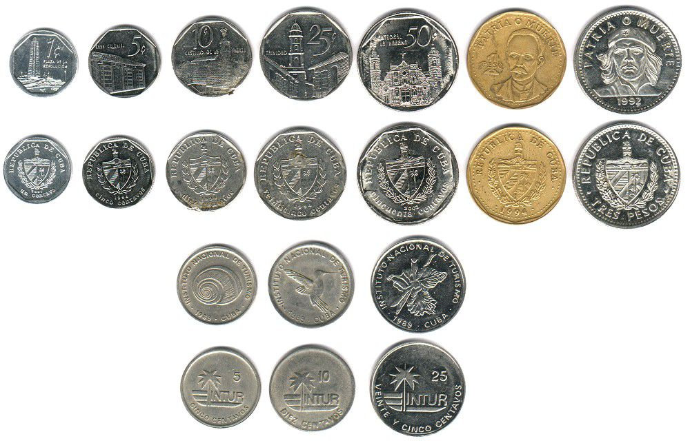 These coins are currently circulating in Cuba as money.