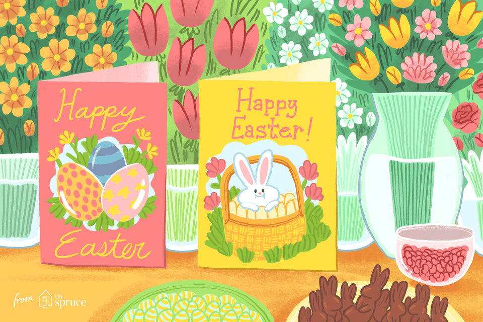 An illustration of Easter cards by bowls of candy and vases of flowers.