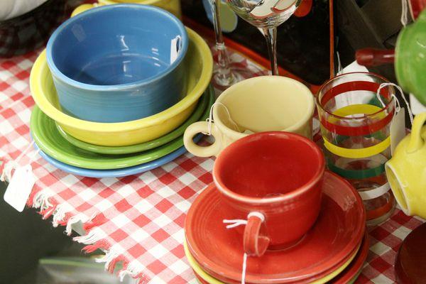 Fiesta dinnerware at antique sale
