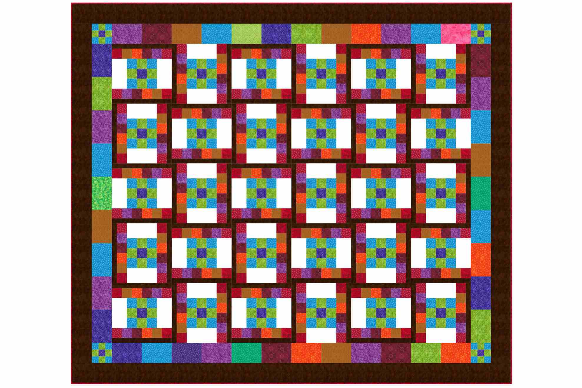 Dancing nine patch quilt pattern