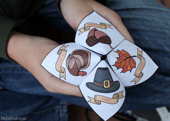 Origami cootie catcher for thanksgiving