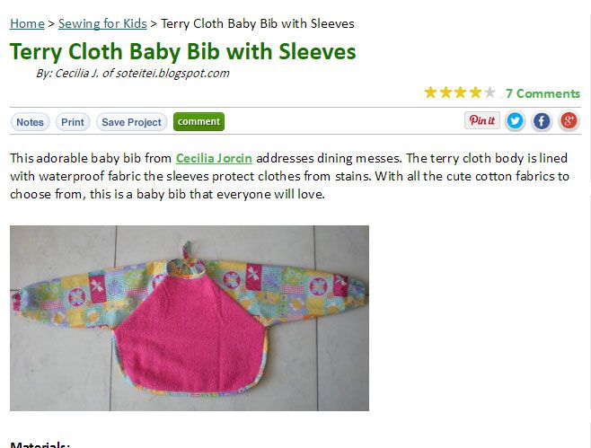 Babies and Toddlers Bib Patterns