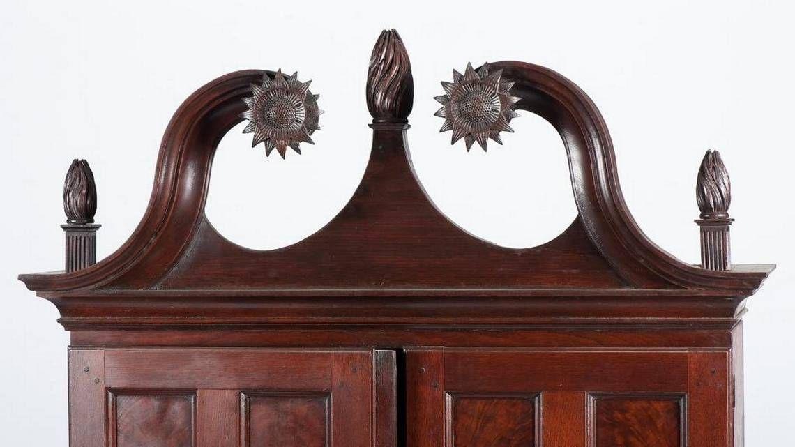 Broken Pediment from Record Breaking Antique Kentucky Desk