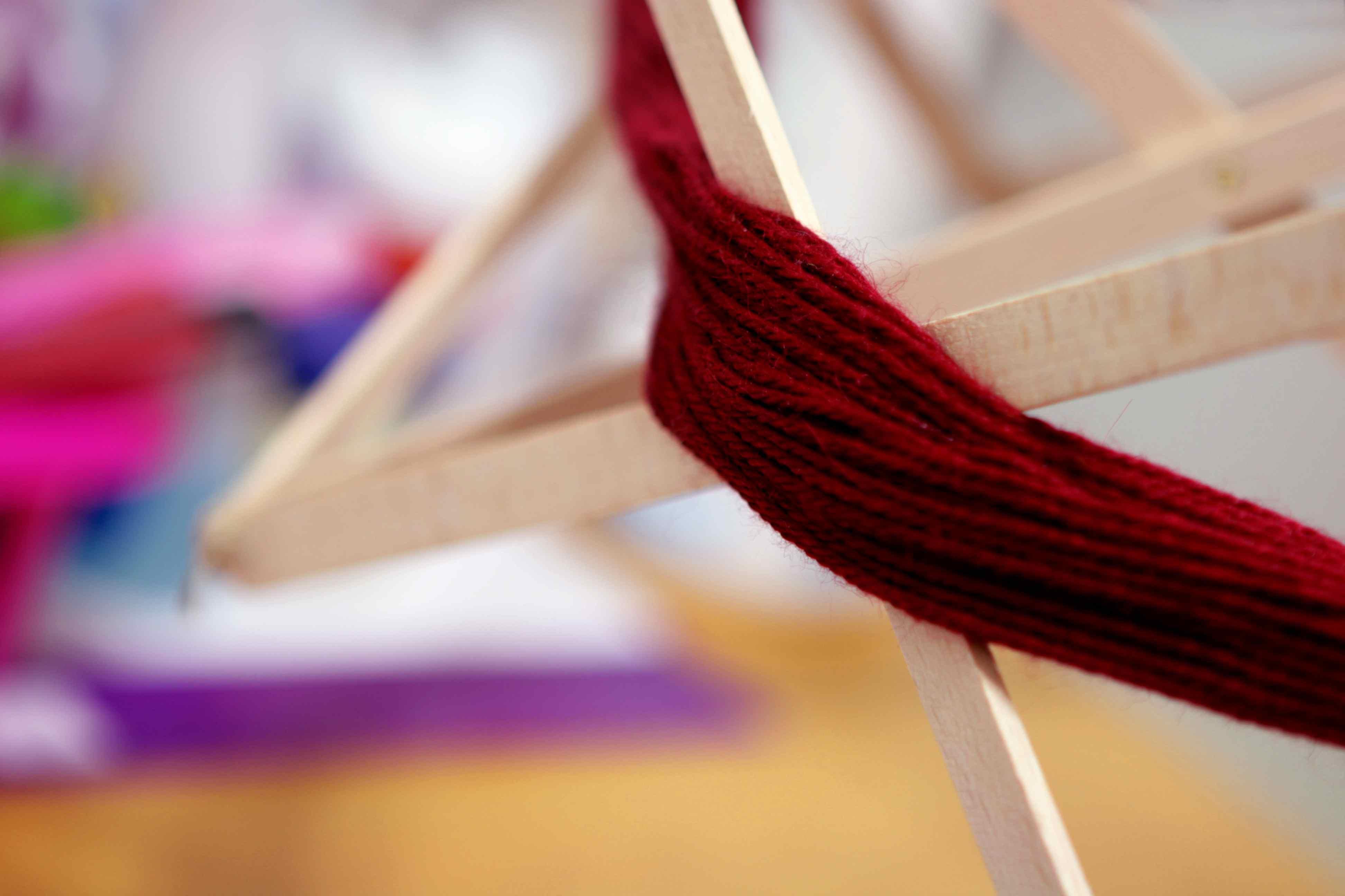Yarn swift filled with yarn.