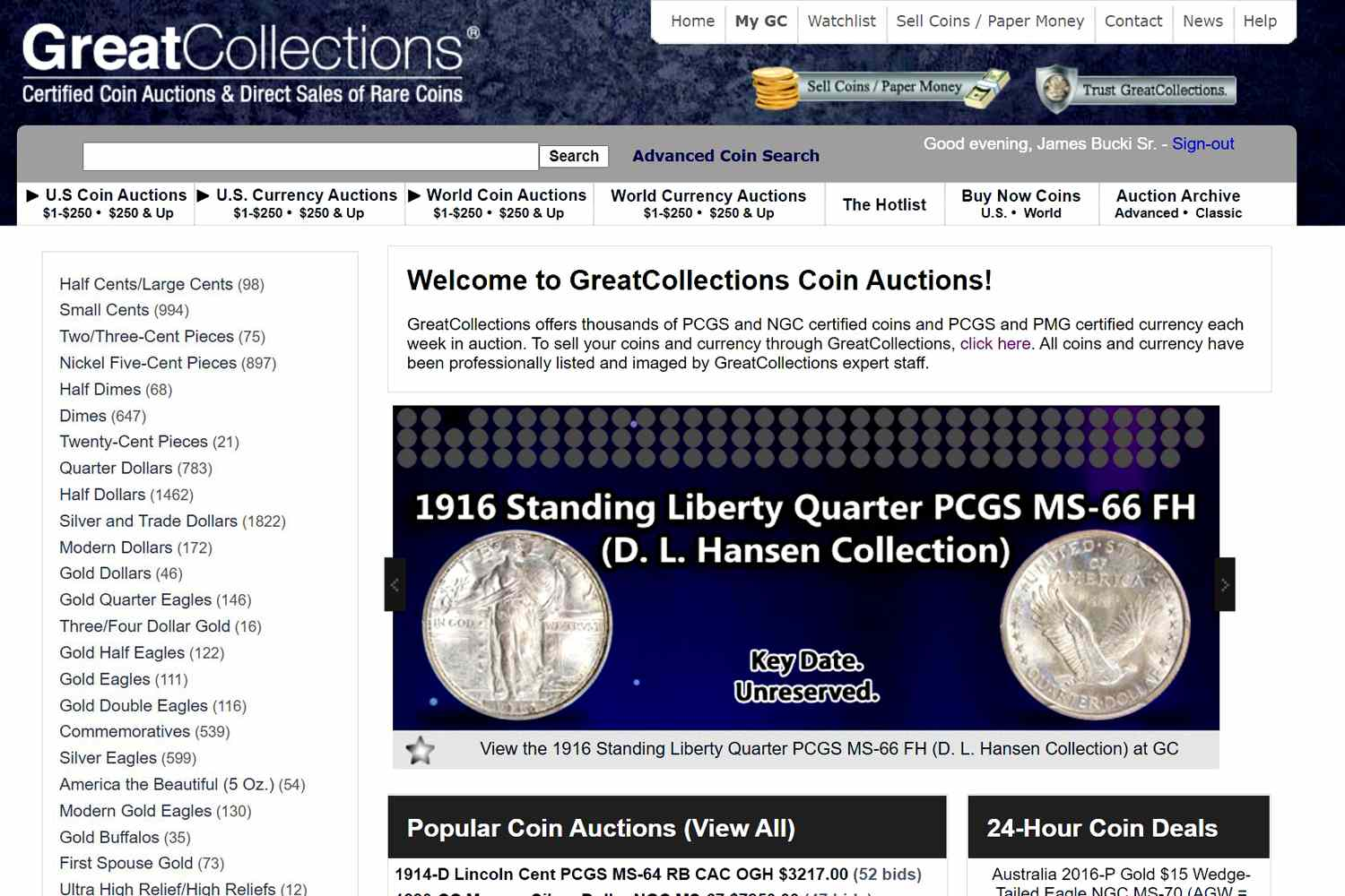 an example of the great collections website