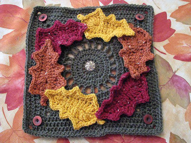 Fall wreath crochet square