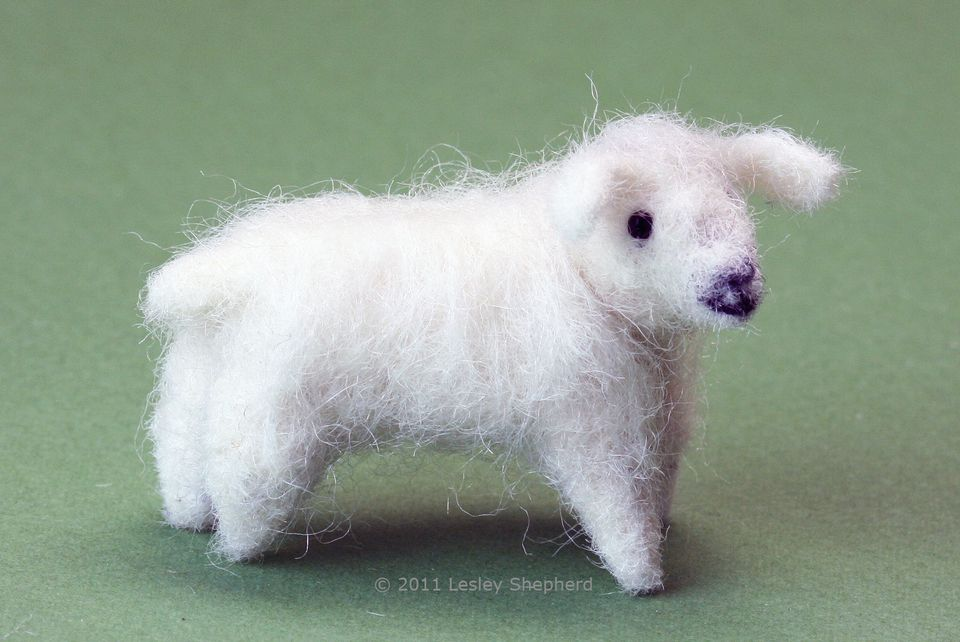 "A felted miniature sheep in ""G"" railroad or 1:24 scale, ready for final 'shearing' or detailing."
