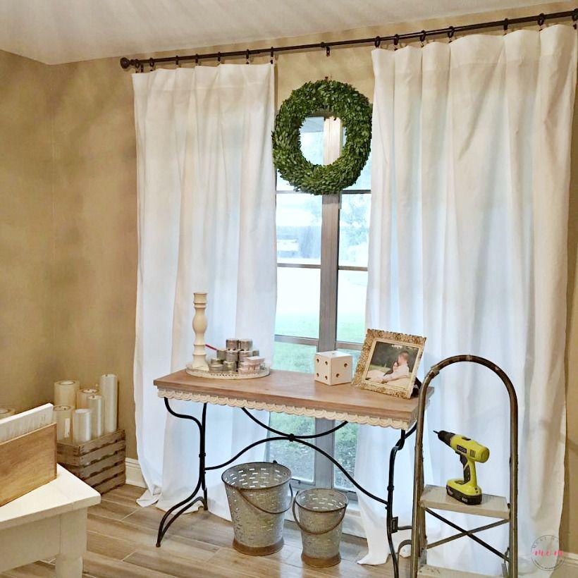 farmhouse style no sew curtains