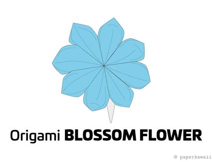 Origami Blossom Flower Diagram 01