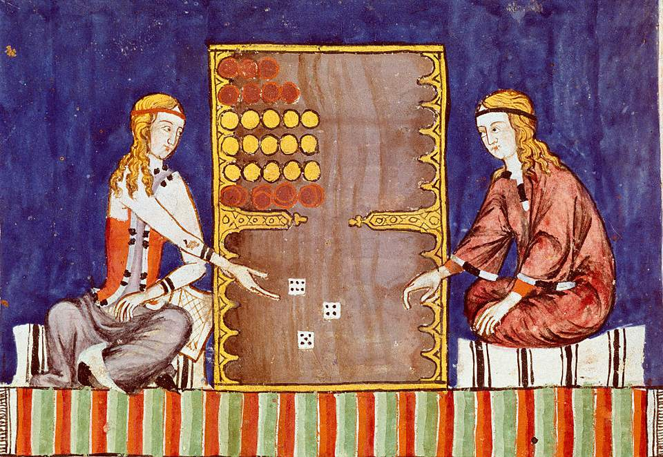 Women playing backgammon, 1283