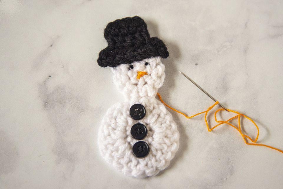 A crocheted snowman.
