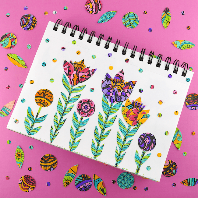Close up of coloring book collage art