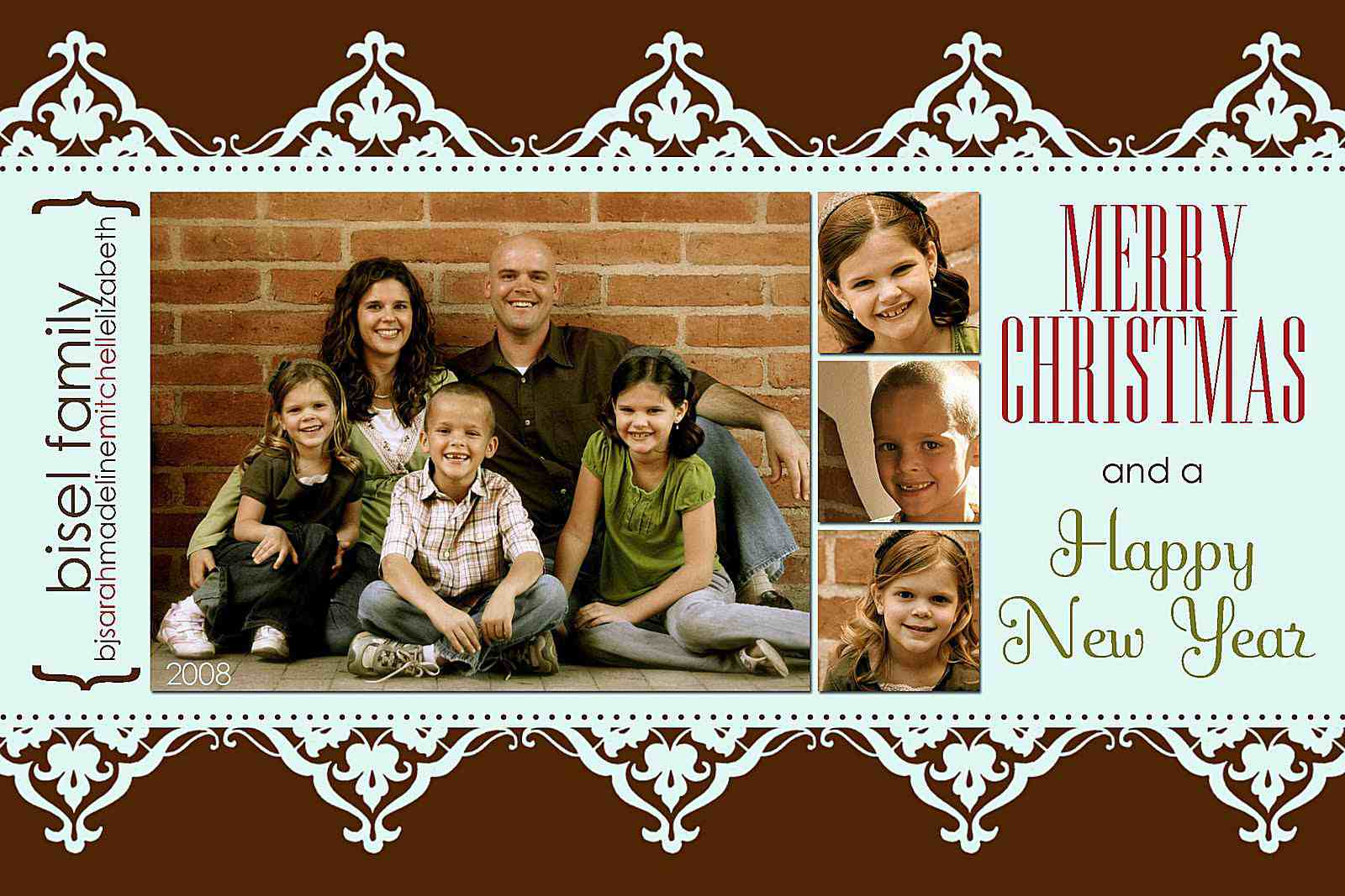 a blue and brown christmas card template with spots for 4 photos