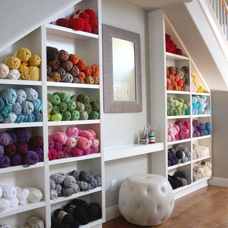 yarn storage shelves