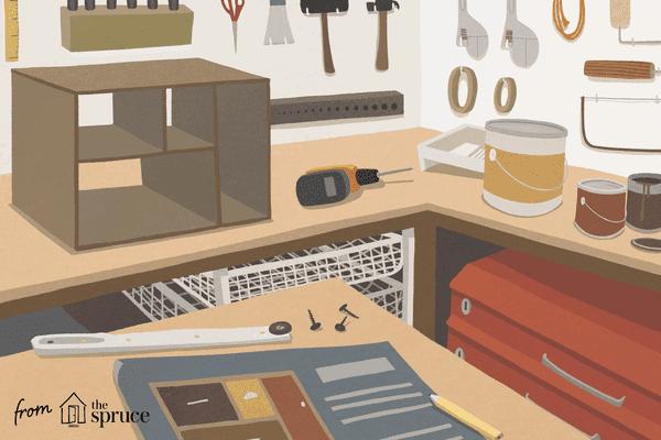 Illustration of a dresser being built