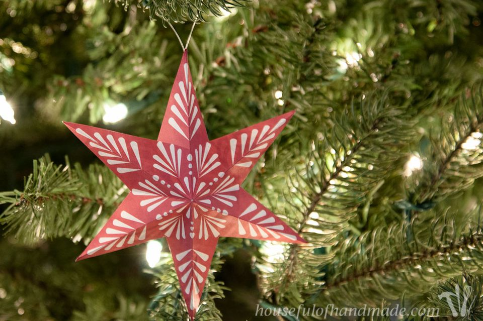 red printable snowflake ornament